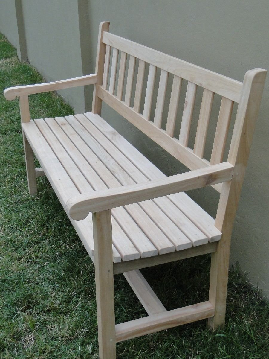 Banco exterior de jardin de madera de 1 50 de largo 3 for Banco madera jardin