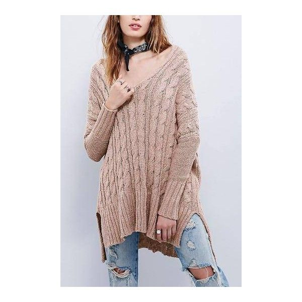 V Neck Cable Knit Jumper in Pink ($51) ❤ liked on Polyvore featuring tops, sweaters, cable knit sweater, pink v neck sweater, long sleeve sweaters, vneck sweater and brown cable knit sweater