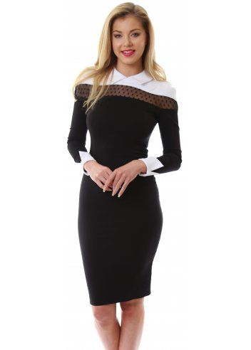 Designer black dress with white collar