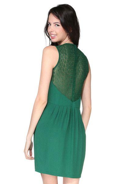 b08136ba6c5d Robe verte détail dentelle Nevala Sessun sur MonShowroom.com   Green ...