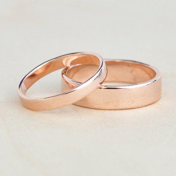 Rose Gold Wedding Set 14k Reclaimed Gold Bands 3mm And 5mm Custom