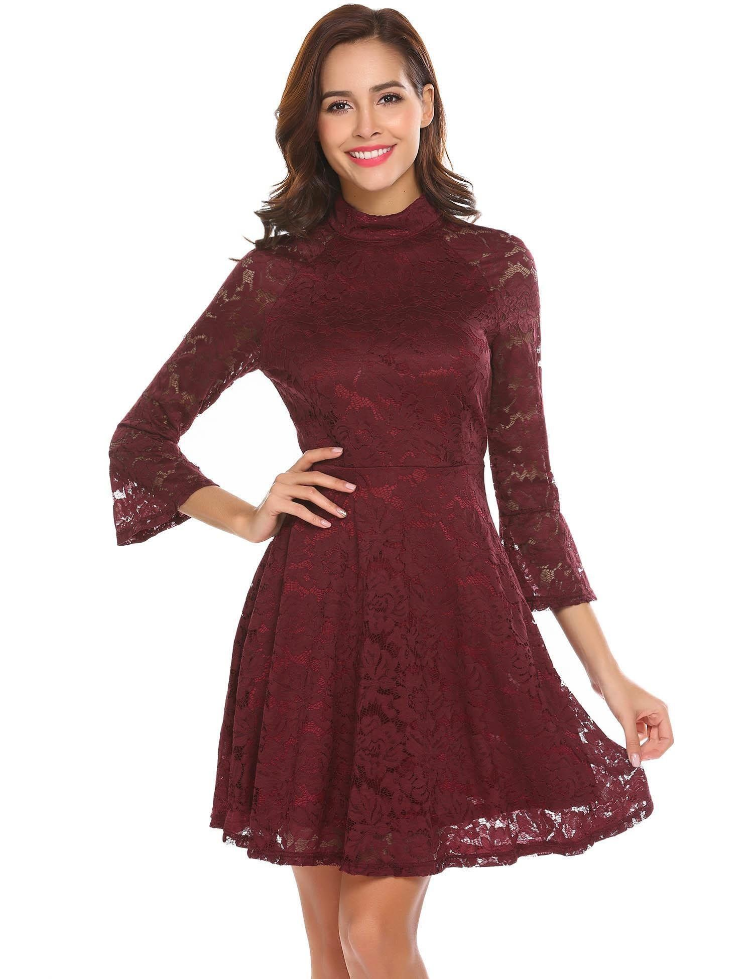 Mock Neck Long Sleeve Party Dresses