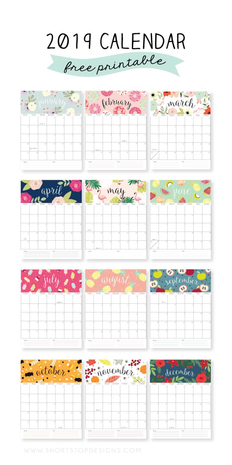 Calendarios Fofos De 2019 Gratis Para Imprimir Kalenterin Sivut
