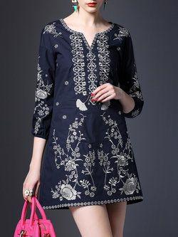 Mudar Casual Floral-bordados 3/4 de algodão de manga mini vestido