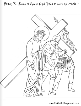 Coloring Page For The Fifth Station Of Cross Simon Cyrene Helps Jesus To Carry
