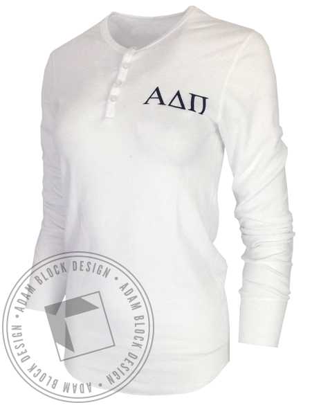 Alpha Delta Pi Crest Henley by Adam Block Design   Custom Greek Apparel & Sorority Clothes   www.adamblockdesign.com