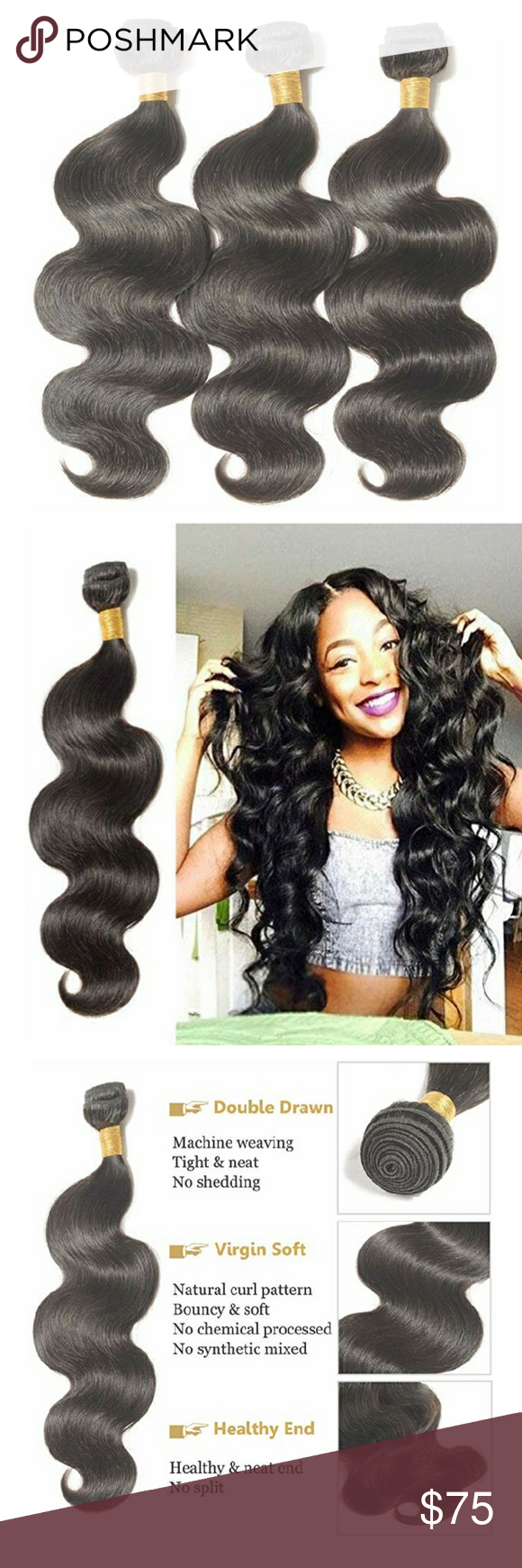 100% Human Hair 3 Bundles 18 inches body wave Price is for all 3 bundles!!!! Brazilian body wave 100% human hair weave can be sewn in, clipped in, glued in to create longer, fuller hair. You can bleach, dye, straighten and restyle the hair bundles as you wish. The hair is in its natural state with its cuticles running in the same direction and in tact. Brazilian Accessories Hair Accessories #brazilianstraightening