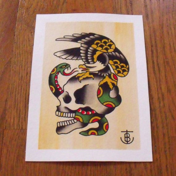 Eagle Snake Skull Traditional Tattoo Flash Painting Original