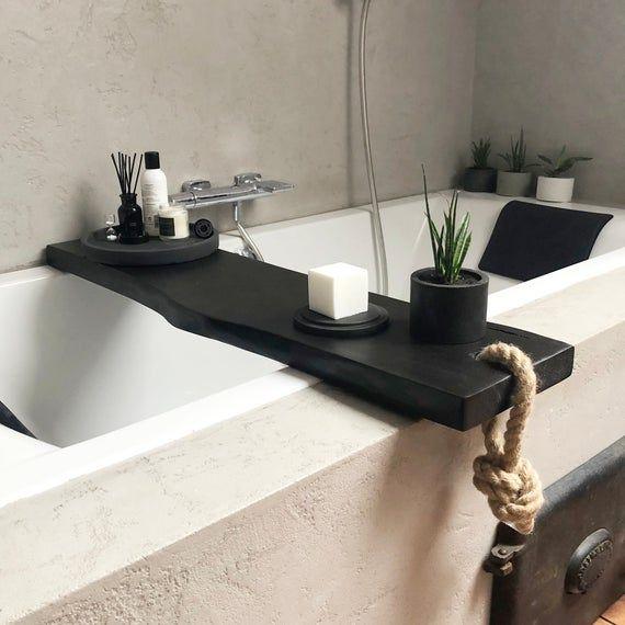 Photo of Black Wooden Bath Caddy / Bath Shelf / Bath Accessories /  Live Edge Bath Table / Bath Tray / Bathro