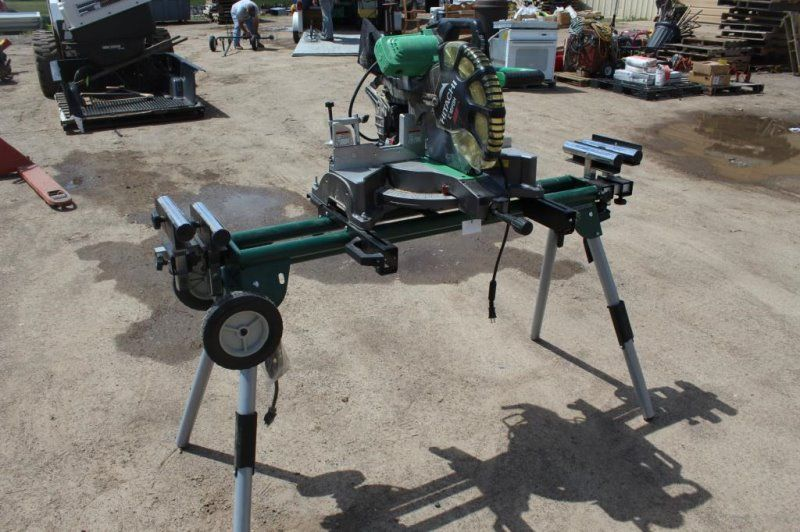 Hitachi C12fdh Laser Miter Saw On Folding Stand Miter Saw Mitered Hitachi