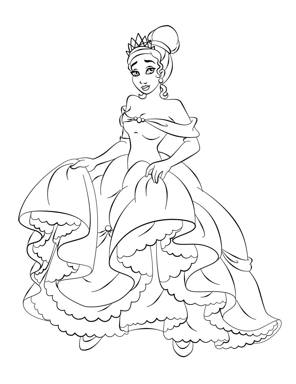 Disney Princess Tiana Coloring Pages To Girls | coloring pages ...