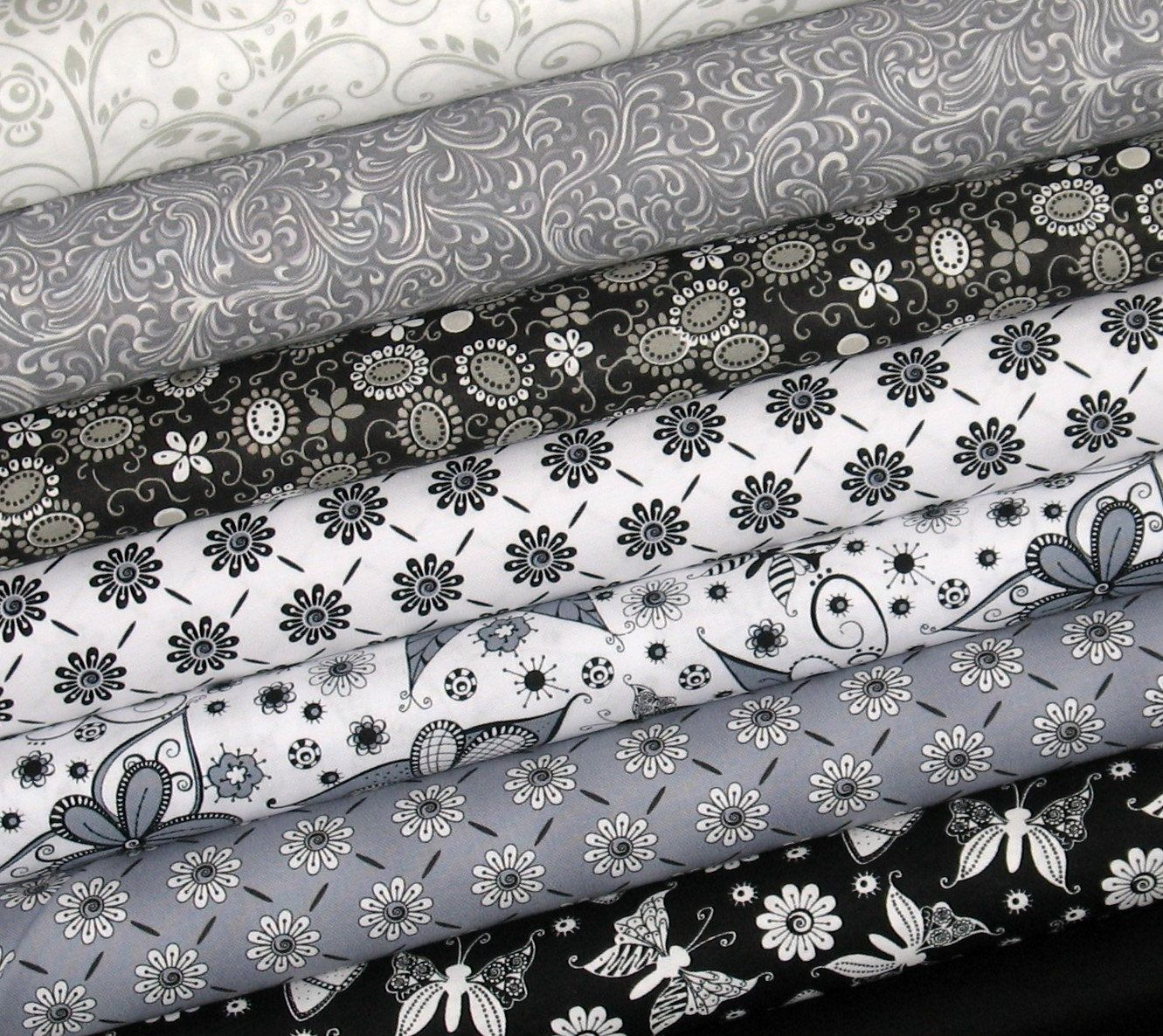 Weekly Special - Black, White and Gray Cotton Quilt Fabric Bundle 55% Off Retail! Eight Piece Fat Quarter Bundle by fabric406 on Etsy