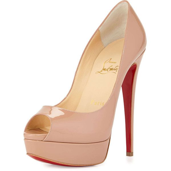39672cdfe38 Christian Louboutin Lady Peep Patent Red Sole Pump ( 995) ❤ liked on  Polyvore featuring shoes