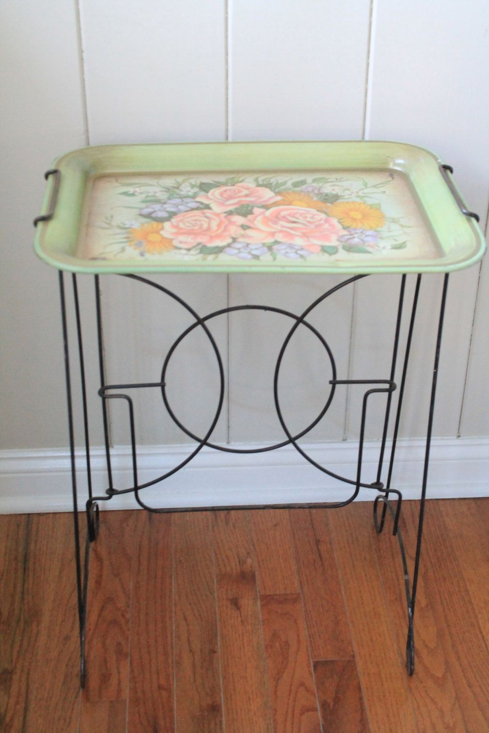 Very Cool Vintage Folding Metal Tray Table // Green Floral Tray // Rare  Metal Base