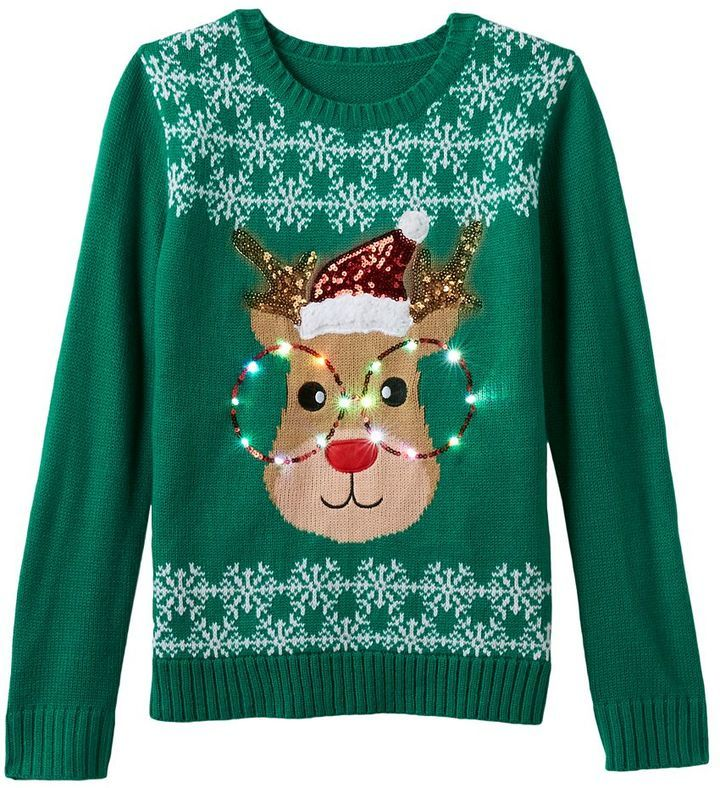 711f0c1ad48d0 Girls 7-16 It s Our Time Light-Up Reindeer Ugly Christmas Sweater ...