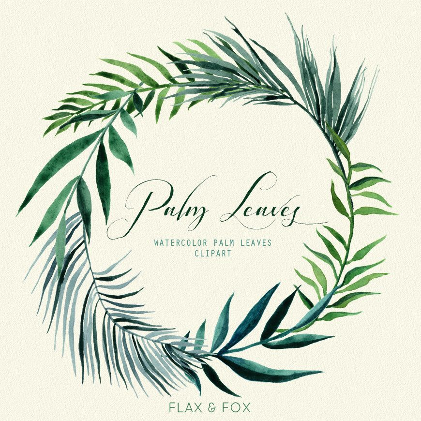 Palm Leaves Watercolor Elements Hand Painted Clipart Floral