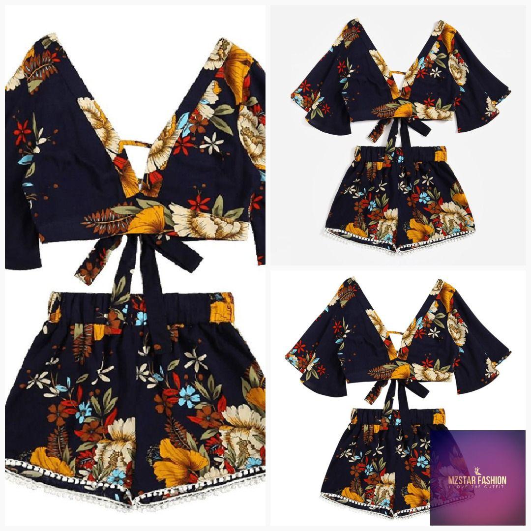 51e4c7a577 Casual Two Piece Set Women Botanical Print Summer V Collar Top Shorts  Beachwear  fashion