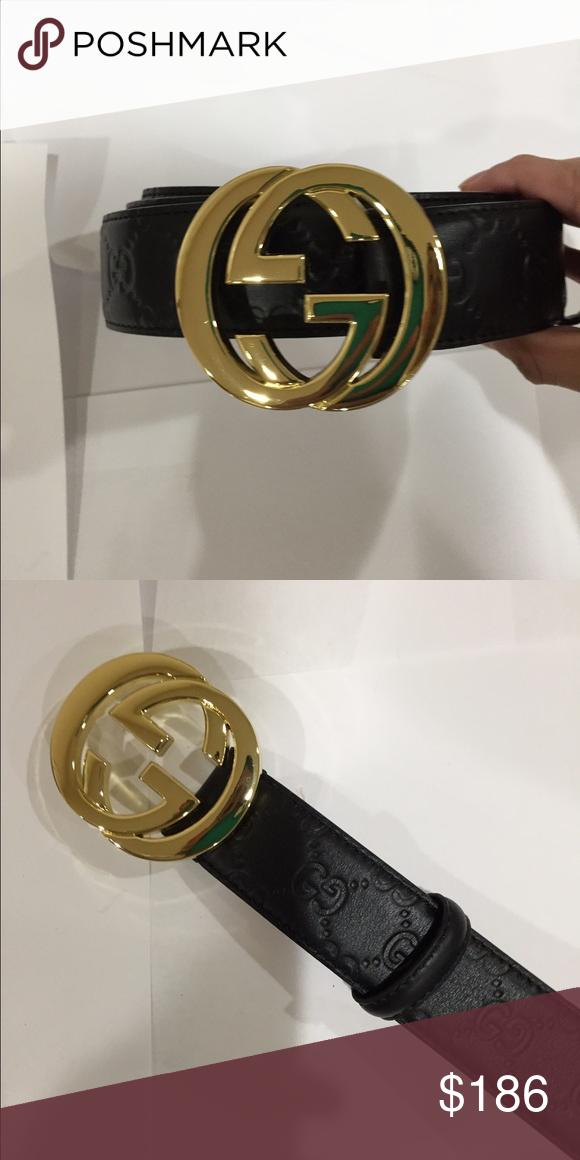 a6bceb0d4313b Black   Gold Gucci Belt Size 44-48 Gucci Accessories Belts