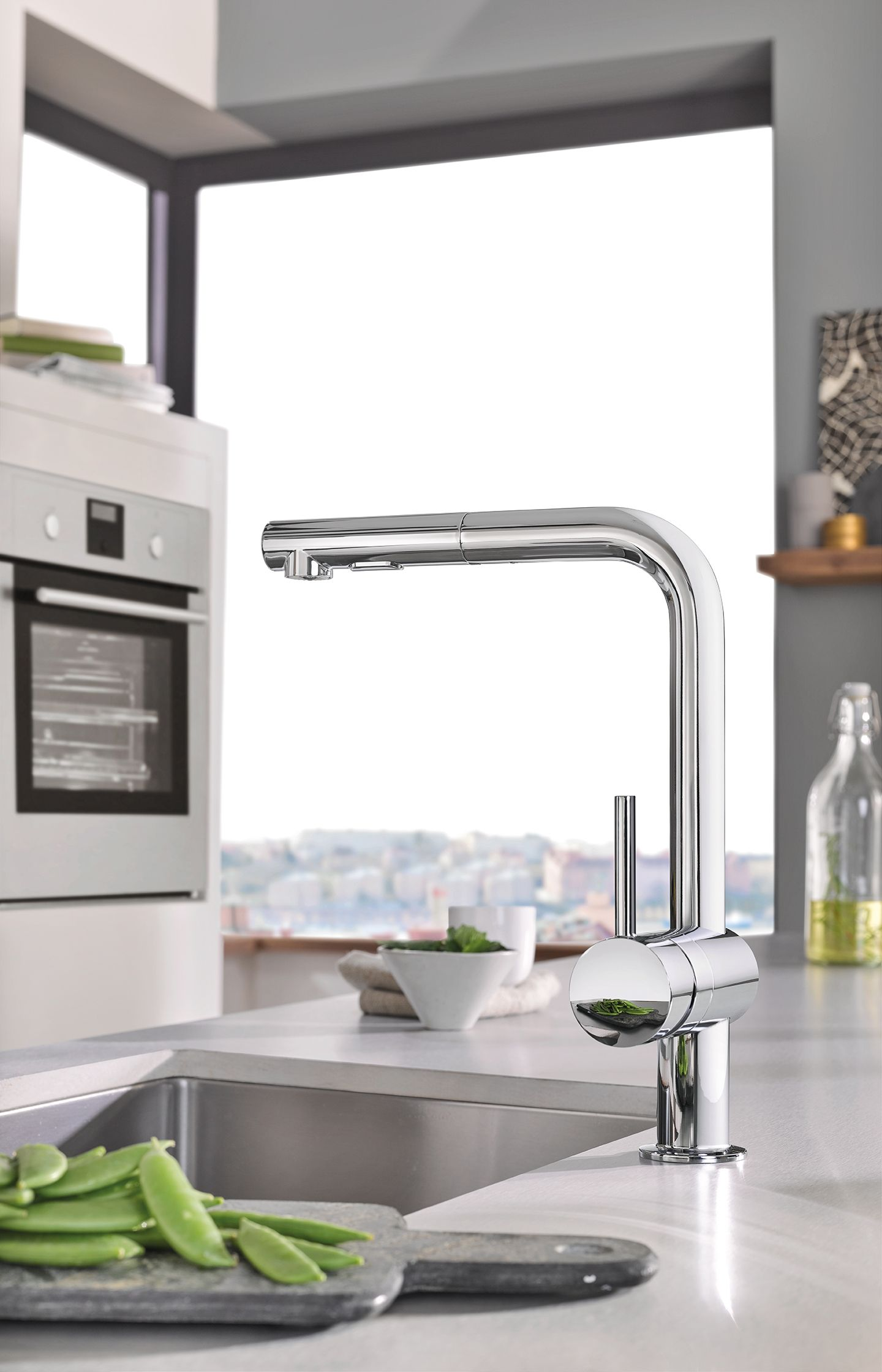 The grohe minta faucet collection features three distinct shapes in