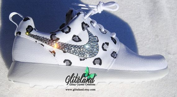 new arrival cdeff 27d8a Size 6- Ships in 2 Bus Days!! Blinged White Leopard Women s Nike Roshe