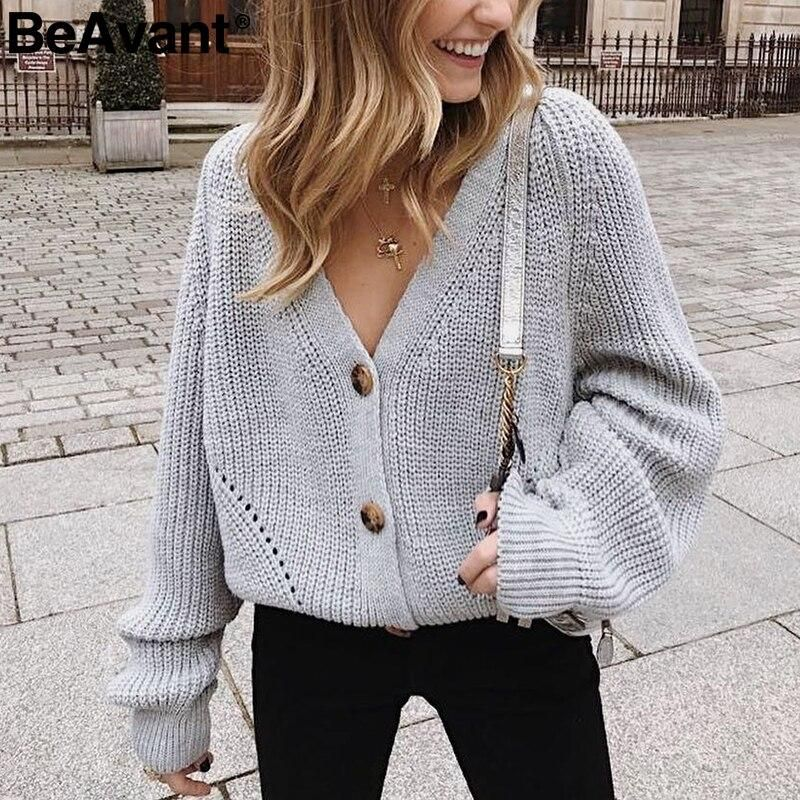 Photo of Sexy v-neck knitted women  sweater