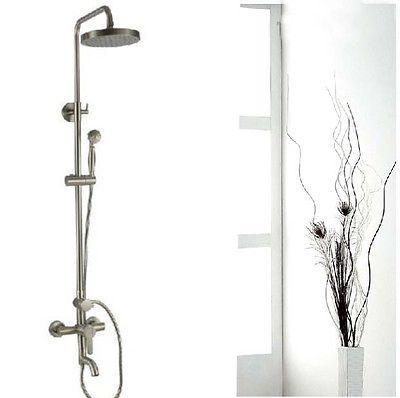 Luxury Brushed Nickel Exposed Rain Shower Faucet Set