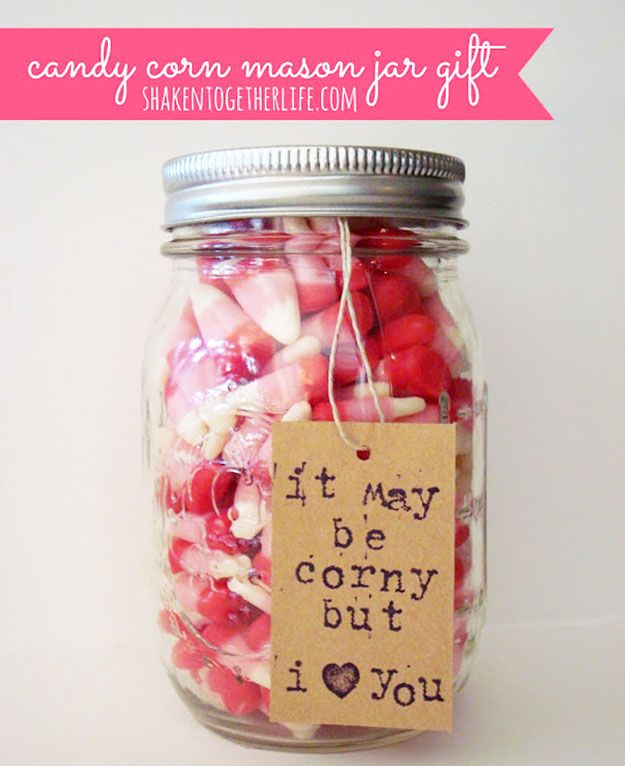 54 Mason Jar Valentine Gifts and Crafts   Valentine crafts, Candy ...