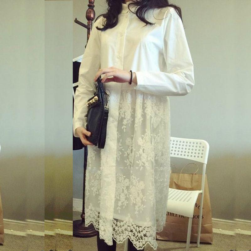 4398cfe4cf17ed Goedkope Zwart Wit kant katoenen shirt jurk vrouwen zomer herfst jurk lange  mouwen leuke casual jurken