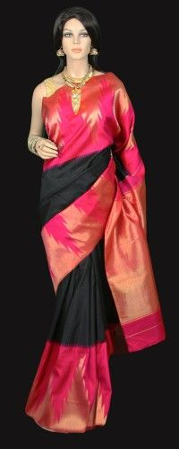 47c51175a61b30 Stylish Black Kanjeevaram Silk Saree with Stunning Pink Zari Temple Border