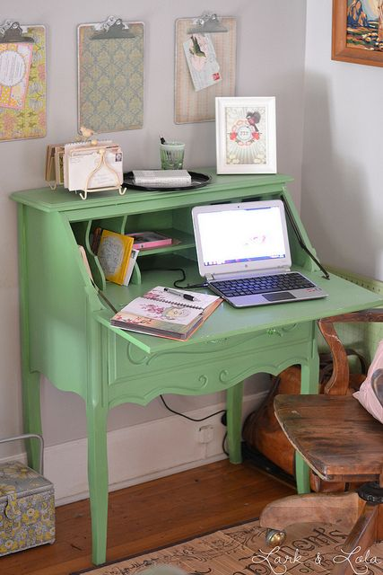 Vintage Painted Secretary Desk Desks For Small Spaces Painted
