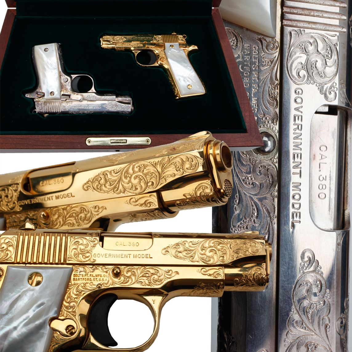 PAIR OF COLT .380 Government Model- The paired golden and silver Colt Government .380 pistols are downsized from the familiar .45 model. These two semi-automatic .380s are nicely engraved with factory mother-of-pearl grip panels. Like their bigger counterparts and resembling the Colt Commander with their rowel hammers, these pistols also have seven-shot magazines.