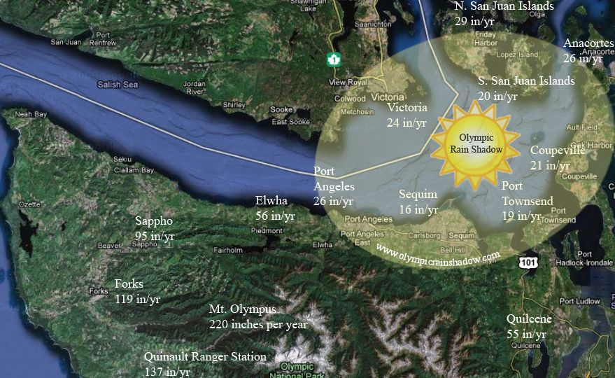 Olympic Rain Shadow Map Sequim Port Angeles And Across The