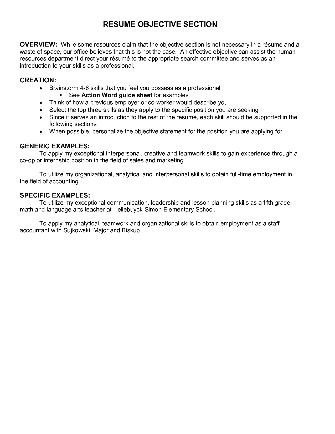 Objective Examples On Resume Resume Objectives Best Templateresume Objective Examples