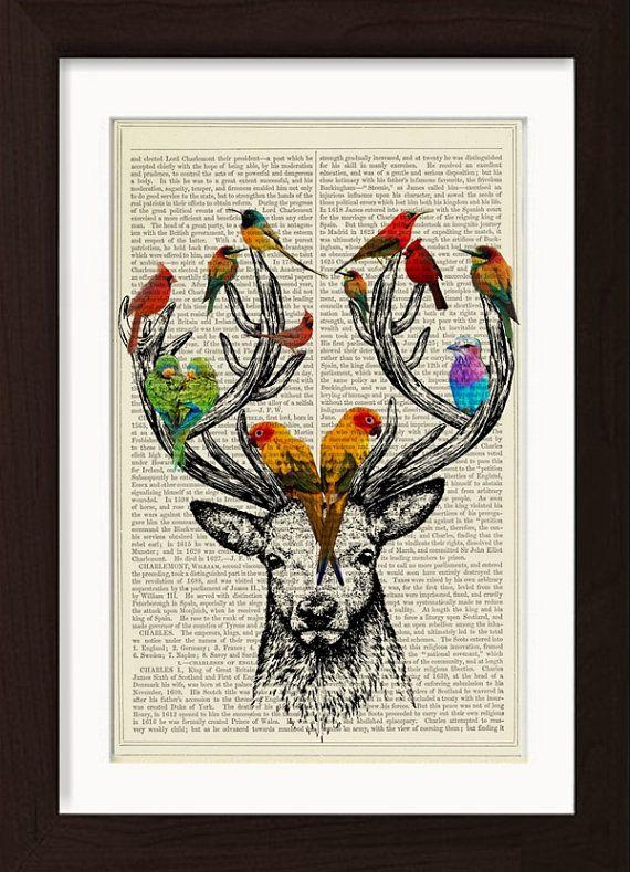 Deer Antlers Colorful Birds  print on vintage by ForgottenPages