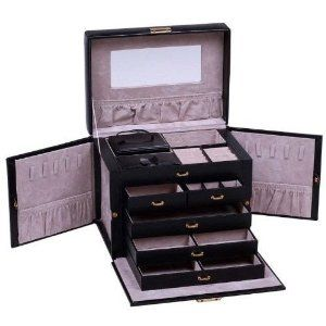 SHINING IMAGE HUGE BLACK LEATHER JEWELRY BOX CASE STORAGE