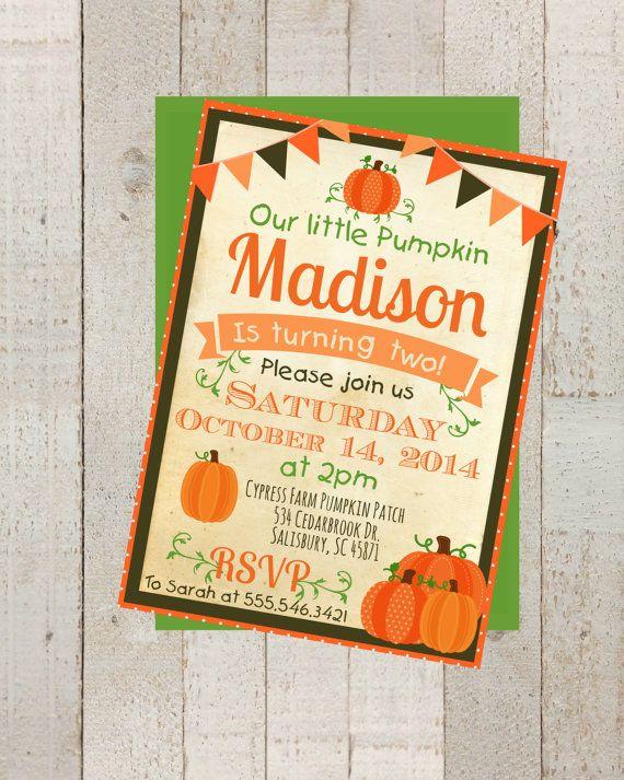 fall pumpkin patch birthday invite digital 5x7 jpeg file (no, Party invitations