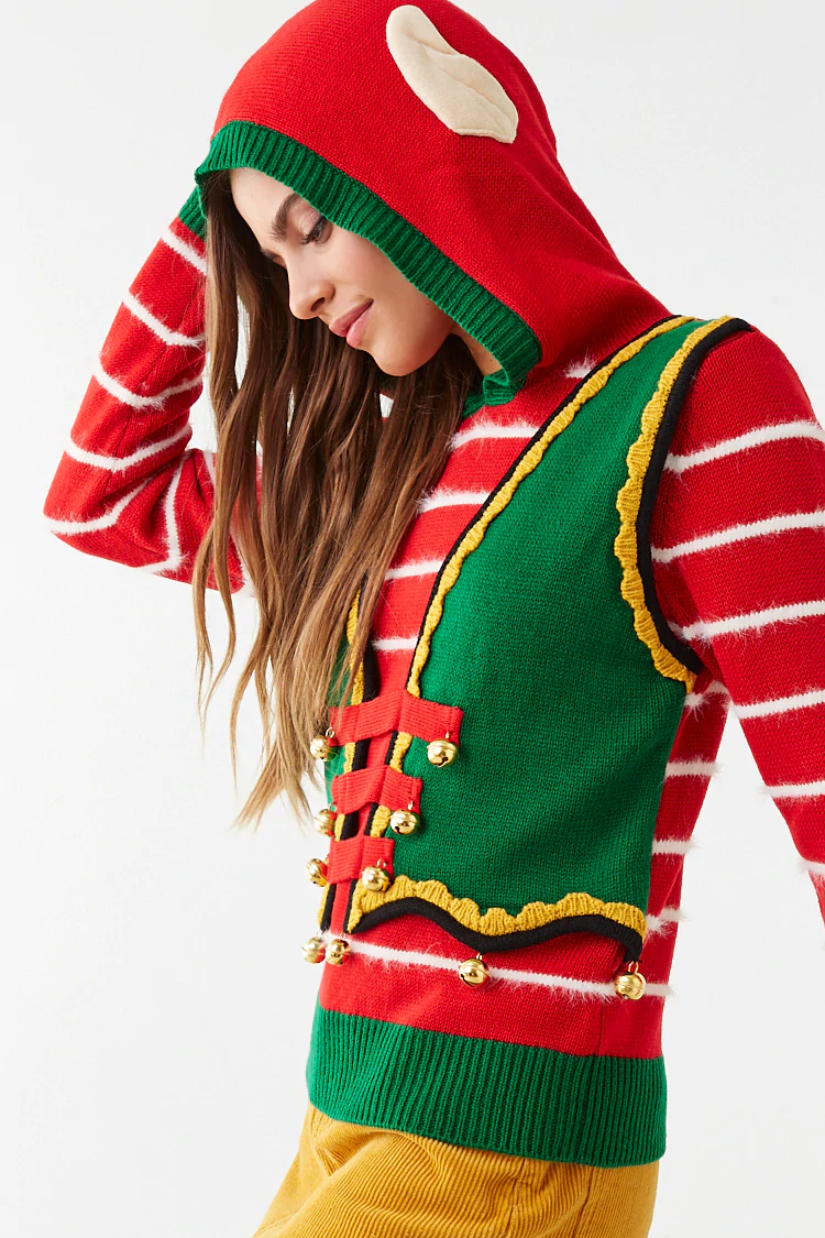 Holiday Elf Striped Sweater Sweaters, Queen outfit, Cute