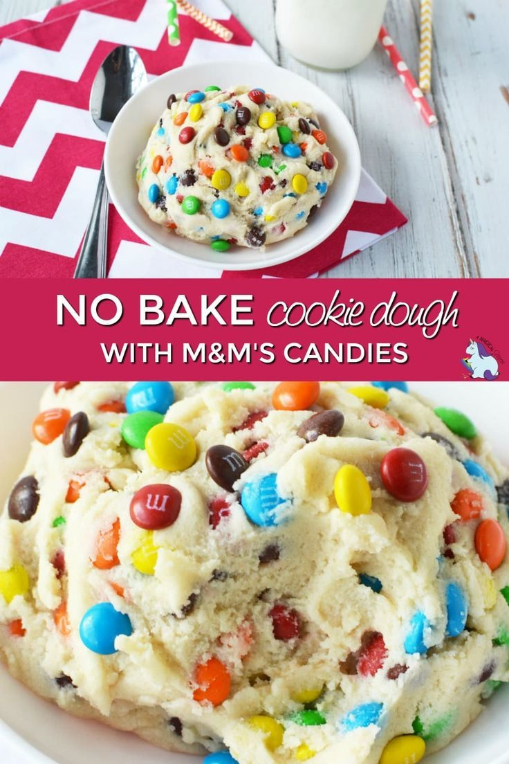 No bake cookie dough with M&M's candies. Edible cookie dough to eat with a spoon or serve as a dip. #cookiedough #diprecipes #sweets #treats #desserts #nobake via @jennifersoltys