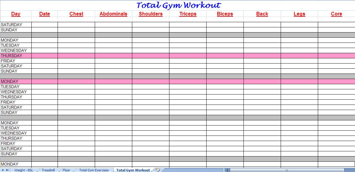 total gym workout plan Organization Pinterest More Total gym - gym workout sheet