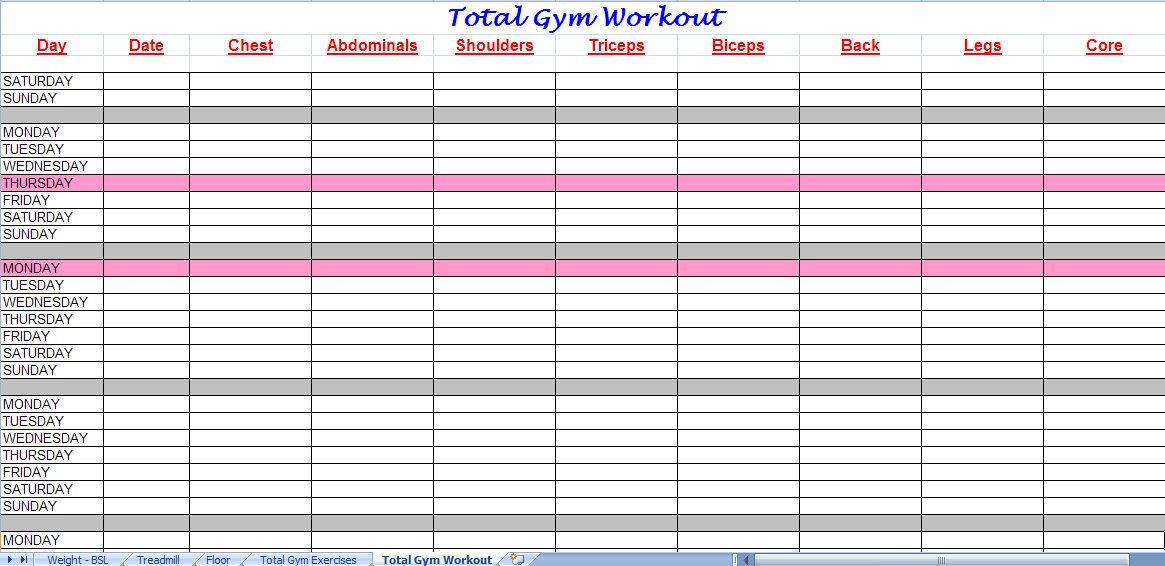 total gym workout plan Health Pinterest Total gym workouts - workout char template