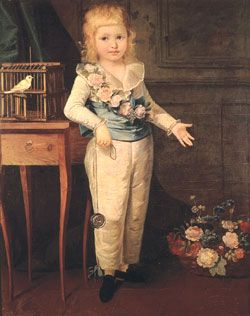 Dauphin Louis Charles of France playing with a yo-yo [emigrette], painted by Elisabeth Vigée-Lebrun.