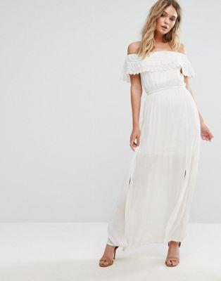 51 River Island Bardot Crochet Trim Maxi Dress Wedding Dress