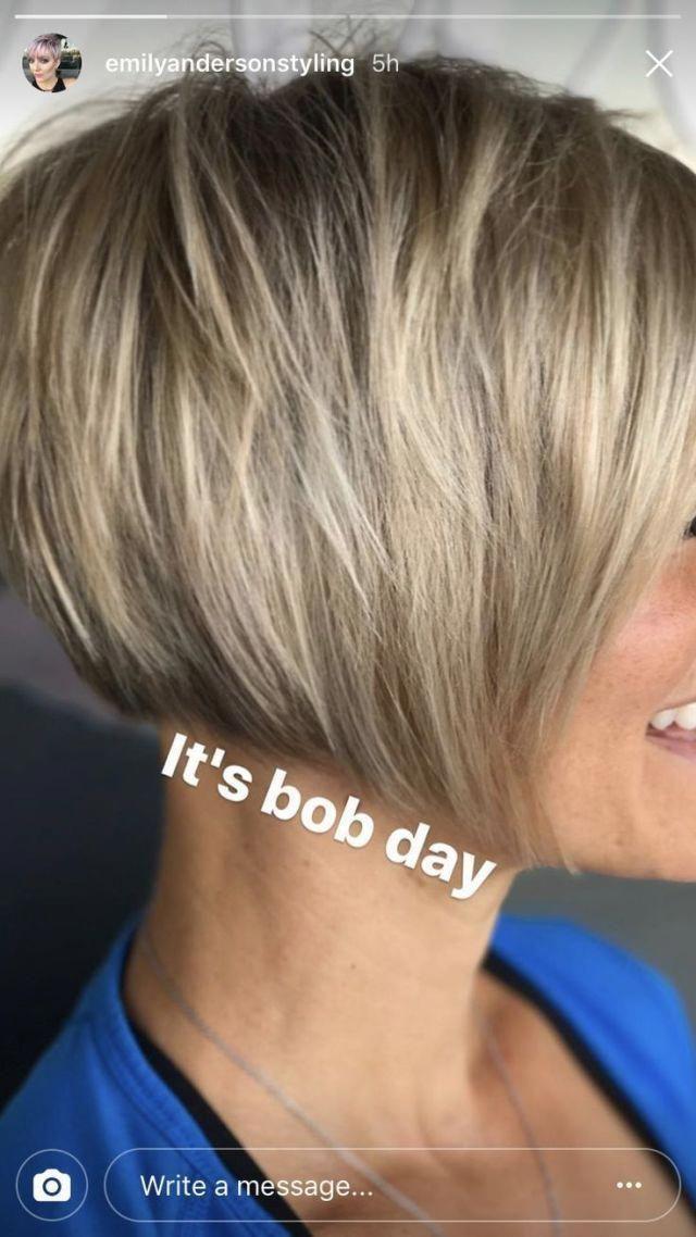 Short Bob Emily Anderson S Style Anderson Bob Emily Short Stacks Sty Short Bob Em In 2020 Haarschnitt Kurz Frisuren Kinnlang Fransig Bob Frisur