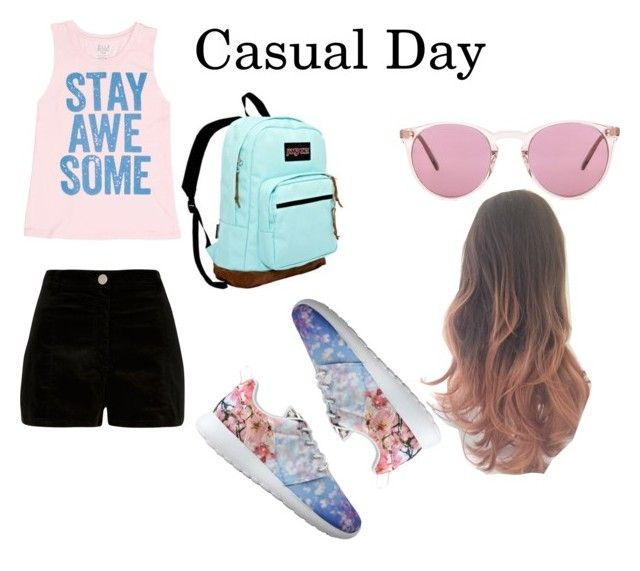 """""""Casual day"""" by emma1097 on Polyvore featuring Billabong, River Island, NIKE, Oliver Peoples and JanSport"""