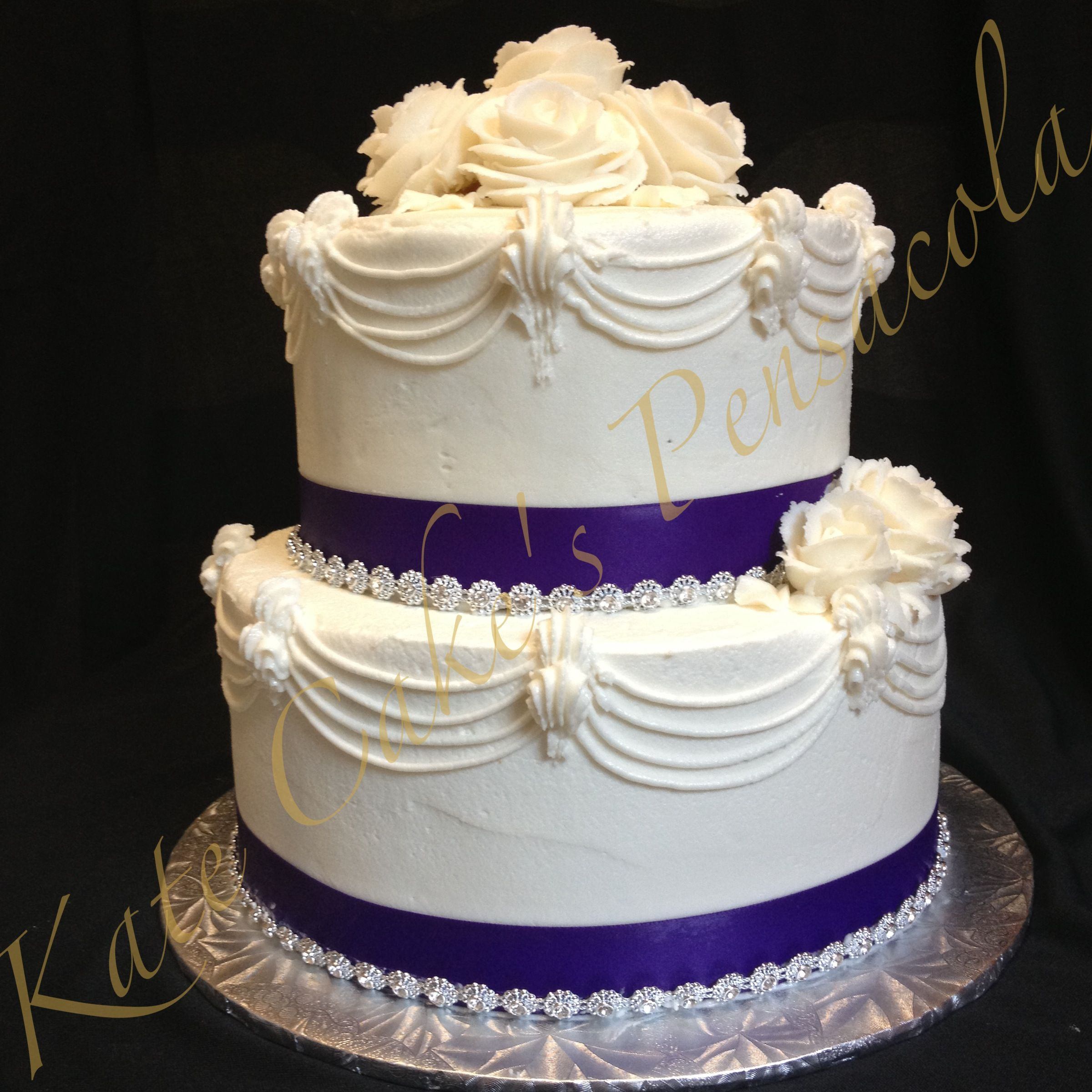 Two Tiered Birthday Cake 75th Birthday Cake With Bling Kates Cakes