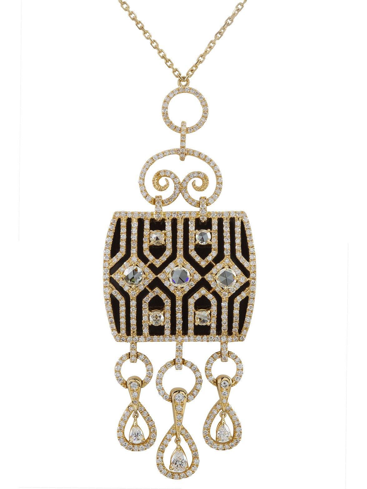 Al Zain 18k Yellow Gold Diamond and Black Enamel Pendant Necklace
