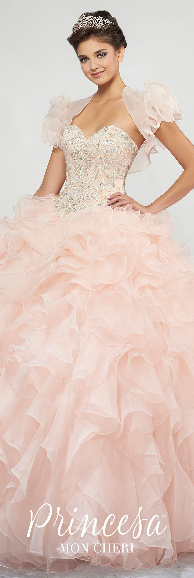 Pink Lace Embroidered Strapless Quinceanera Dress - PR11812 | 15 ...