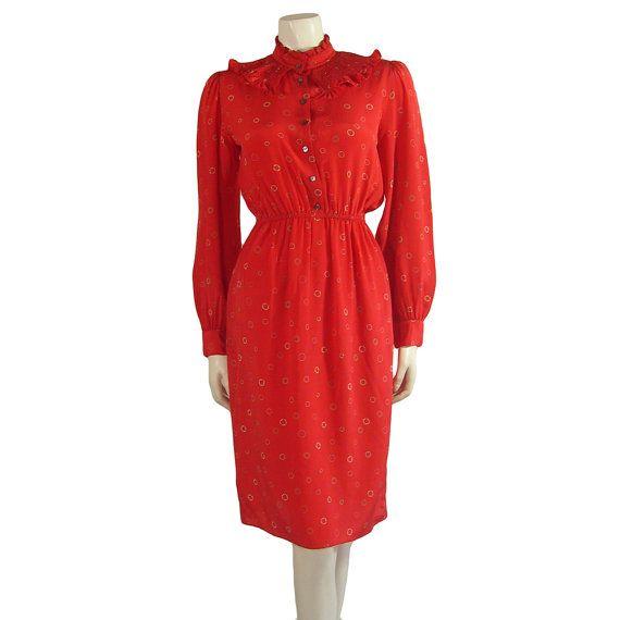 Vintage Zandra Rhodes Crimson Silk Print Dress by Palettelondon