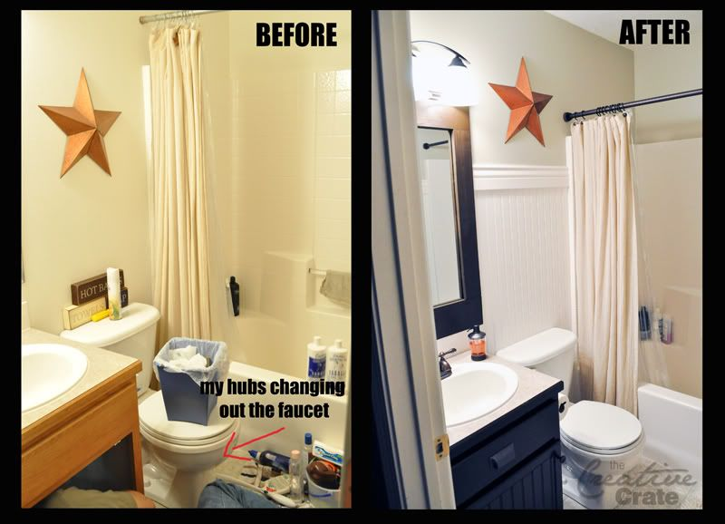 bathroom remodel using beadboard to beautify cabinets and walls