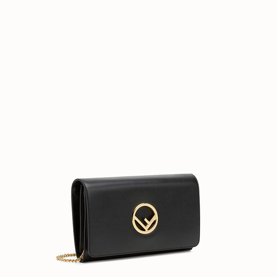 Fendi wallet on chain black leather minibag view 2